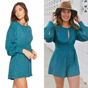 Free People Love Grows Front Button Print Romper